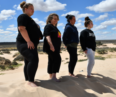 Members of Anglicare Victoria's Indigenous Leadership Academy in Lake Mungo
