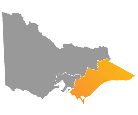 Map of Victoria highlighting east of Melbourne (Gippsland)
